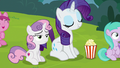 Rarity eating popcorn; Sweetie Belle still bored S7E6.png