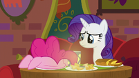 Rarity watches Pinkie stuff her face S6E12