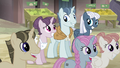Sugar Belle, Party Favor, & Night Glider smiles S5E02.png