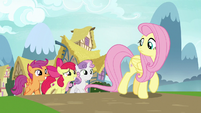 The Crusaders pleading with Fluttershy S9E22