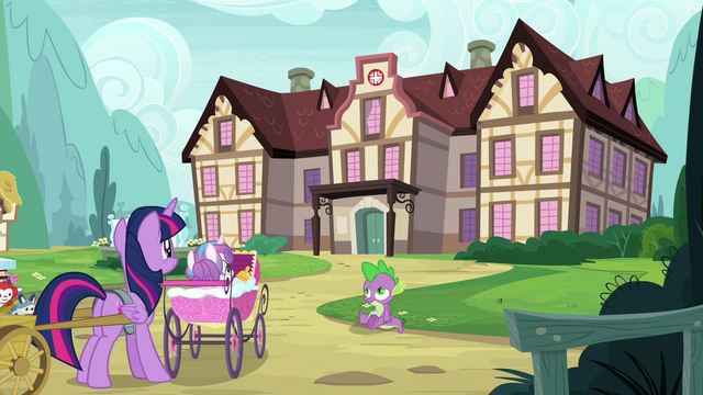 File:Twilight and Spike arrive at Ponyville Hospital S7E3.png