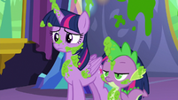 Twilight and Spike covered in mashed peas S7E3