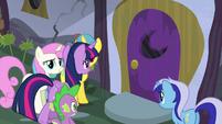 Twilight and Spike walks towards Moon Dancer's home door S5E12