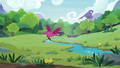 Birds flying across the grassy meadow S7E5.png