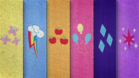 Felt row of Mane Six's cutie marks BFHHS4