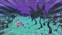 Flutterbat diving toward main cast S4E07