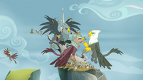 Griffons arguing in the Griffonstone sky S6E19