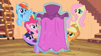 Main 5 ponies watching Rarity's dress in awe S2E10