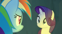 Rainbow Dash looking at Rarity S7E16