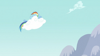 Rainbow Dash napping on a cloud S2E23