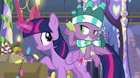 Spike imitating Rarity toward Twilight MLPBGE