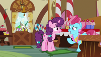 Sugar Belle and Mrs. Cake talking in Sugarcube Corner S8E10