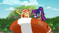 Sunset and Twi struggle with the lifeboat EGSB