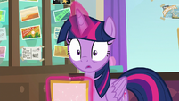 Twilight Sparkle with eyes open wide S8E16