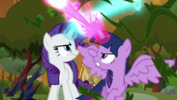Twilight and Rarity blasting their magic S9E2