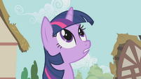 Twilight looking up at the parasprites S1E10