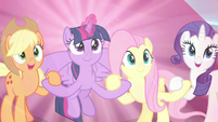"AJ and Rarity declare ""for our families!"" S9E2"