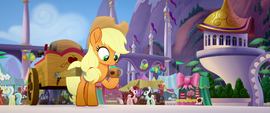 Applejack looking at empty cider cup MLPTM
