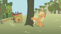 Applejack trying to buck apples S1E04