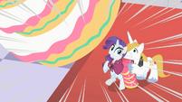 Blueblood uses Rarity as pony shield S01E26
