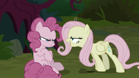 Fake Fluttershy laughing at fake Pinkie Pie S8E13