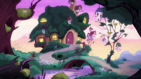 Fluttershy's cottage at sunrise S5E3