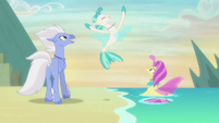 Freeze frame on jumping seapony Terramar S8E6