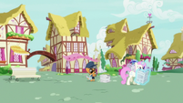 Newspaper Pony distributing newspapers in Ponyville S7E18
