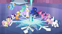 Ponies gather around broken Crystal Heart S6E2