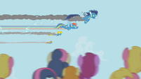 Rainbow Dash flying with Wonderbolts S1E03