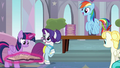 Rarity and Rainbow Dash surprised by all the students S8E1.png