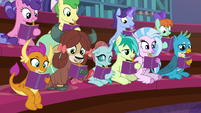 Students taking notes in Twilight's class S8E17