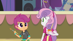 Sweetie Belle and Scootaloo painting a poster EG2