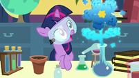 Twilight's beaker makes a flower-shaped cloud S7E1