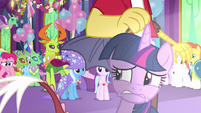 Twilight nervously looks away from the crowd S7E1