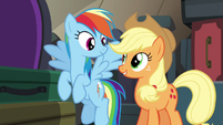 AJ and Rainbow ask Fluttershy and Pinkie for one more game S6E18