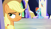 Applejack rolling her eyes at Rainbow Dash S6E25