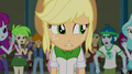 Applejack walking past booing students EG2.png