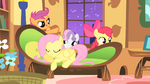 CMC sneak past Fluttershy on their way to the forest S1E17