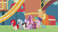 Cheerilee and foals looking at rebuilt playground S5E18