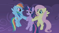 Fluttershy and Rainbow Dash catch Twilight S01E02.png