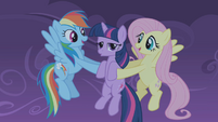Fluttershy and Rainbow Dash catch Twilight S01E02
