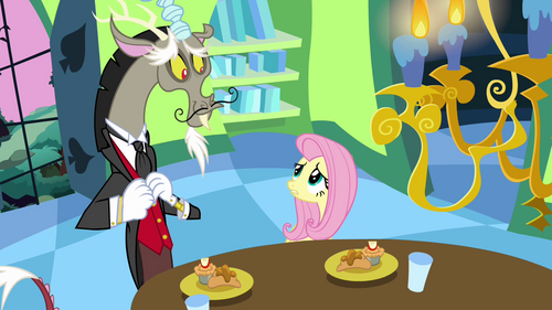 Fluttershy looks worried at Discord S03E10