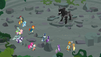 Mane Six, Pillars, and Pony of Shadows in Ponhenge ruins S7E26