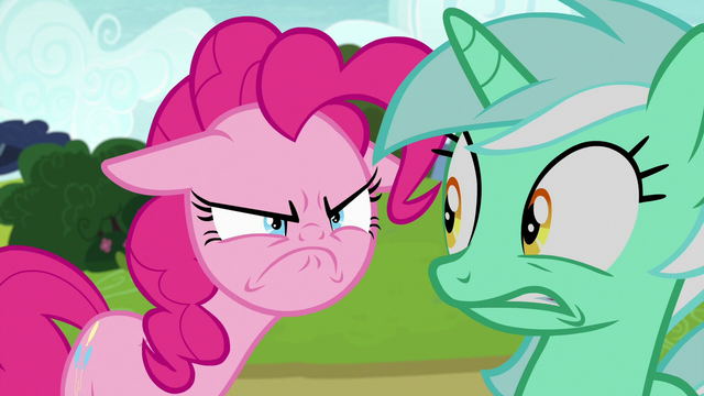 File:Pinkie Pie glaring at Lyra Heartstrings S7E4.png