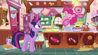 Pinkie Pie pouring ingredients into a bowl S7E23