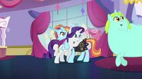 Rarity and Sassy looking at Incidental Pony S5E14