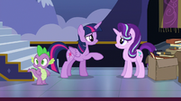 Spike notices something as Twilight compliments Starlight S6E25