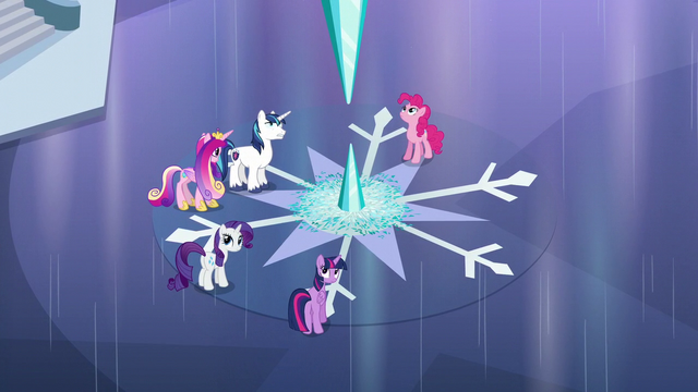 File:The ponies hear Flurry Heart S6E2.png