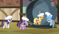 Twilight, Rainbow, and Rarity question Applejack S2E14